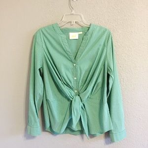 Anthropologie Maeve Green Stripped Knotted Blouse